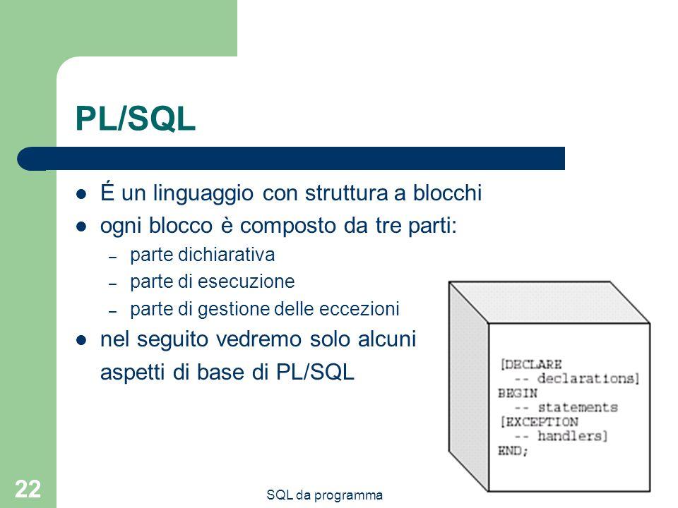 PL/SQL É un linguaggio con struttura a blocchi