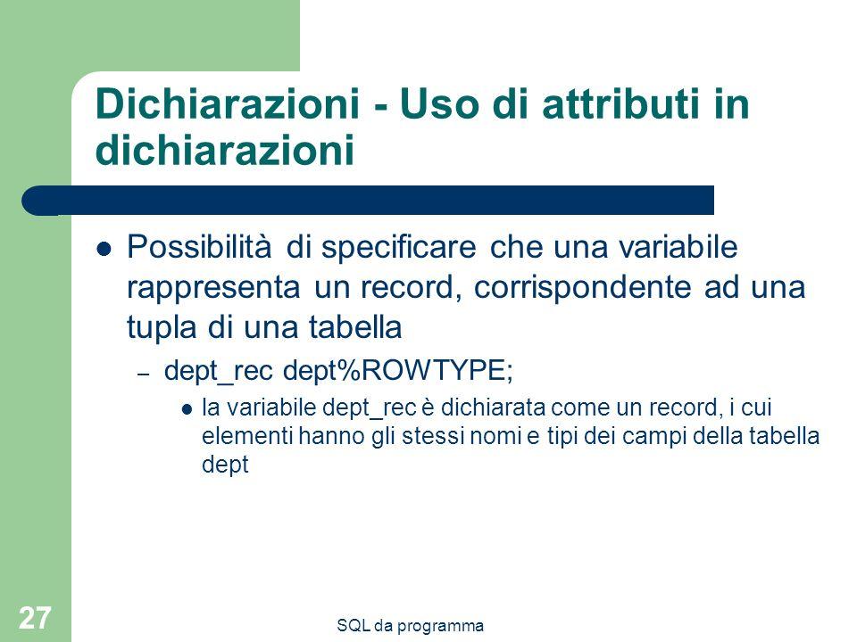 Dichiarazioni - Uso di attributi in dichiarazioni