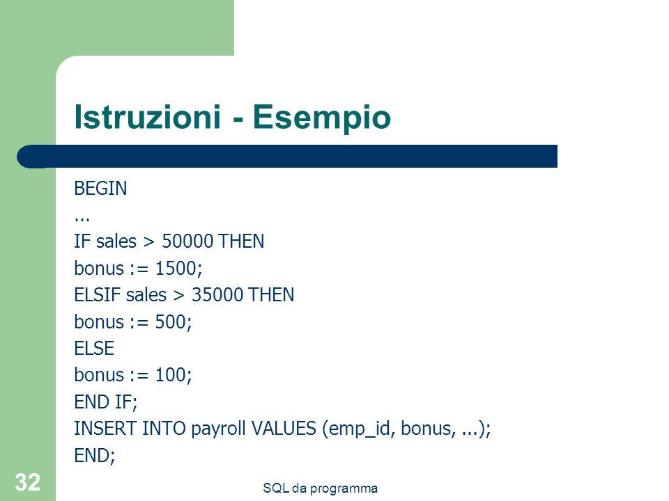 Istruzioni - Esempio BEGIN ... IF sales > 50000 THEN bonus := 1500;