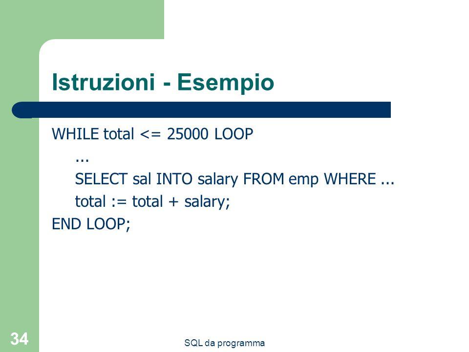 Istruzioni - Esempio WHILE total <= 25000 LOOP ...