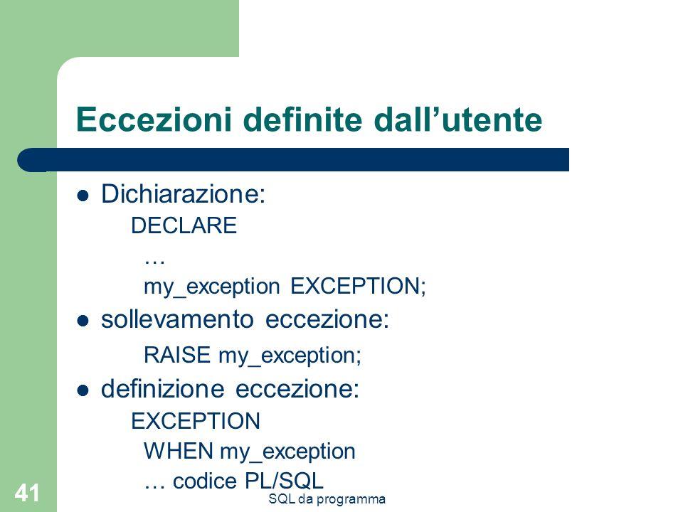 Eccezioni definite dall'utente