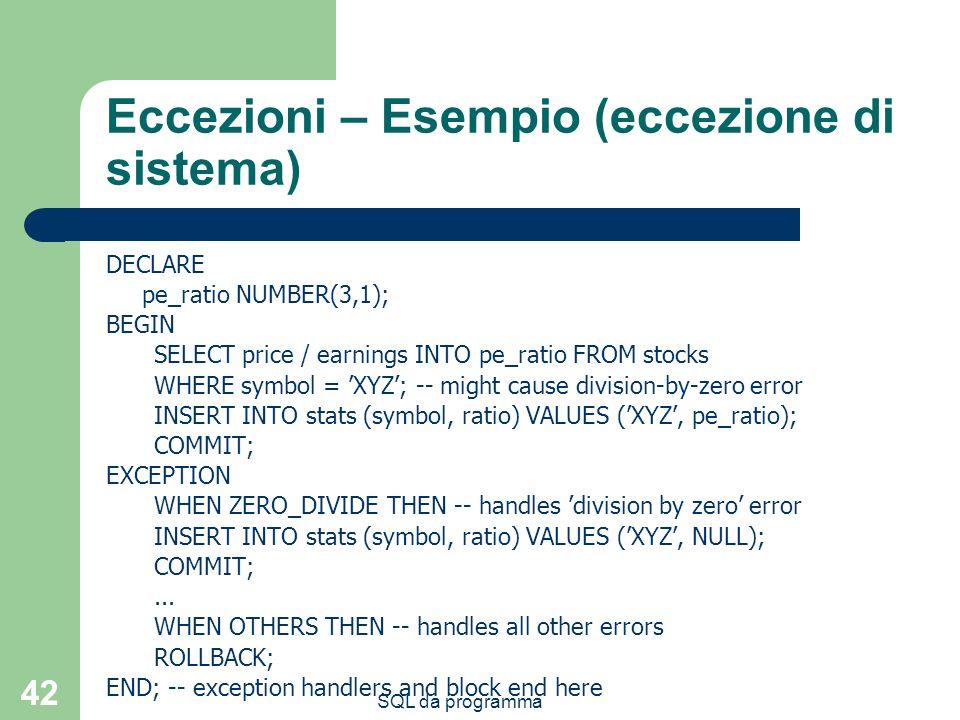 Eccezioni – Esempio (eccezione di sistema)