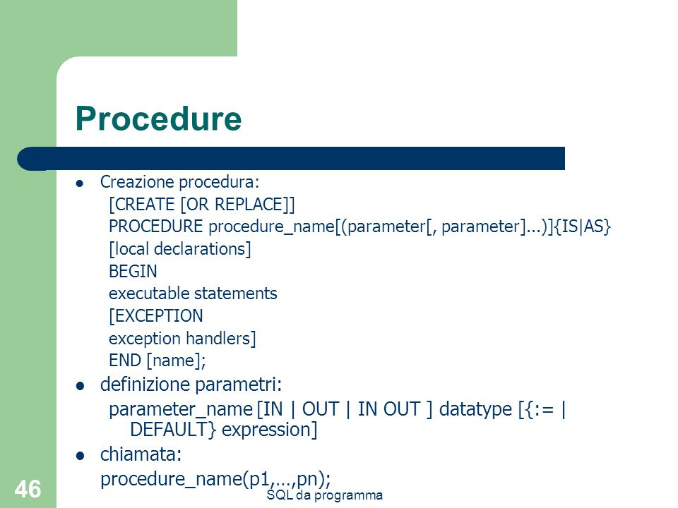 Procedure definizione parametri: