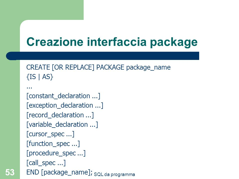Creazione interfaccia package
