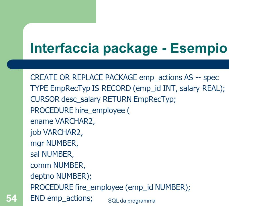 Interfaccia package - Esempio