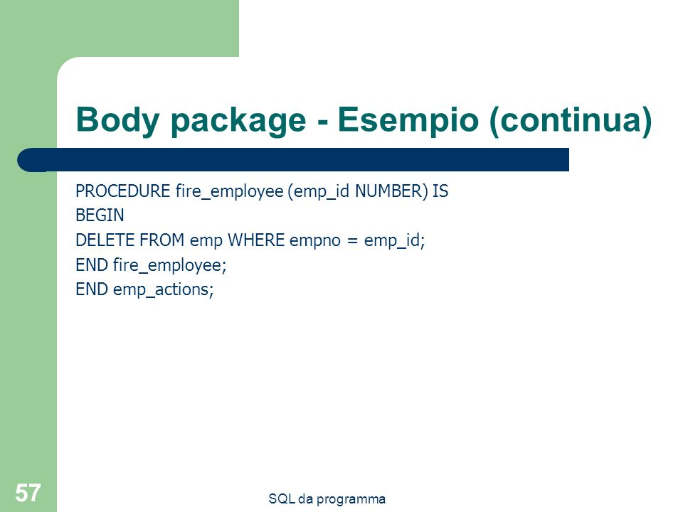 Body package - Esempio (continua)
