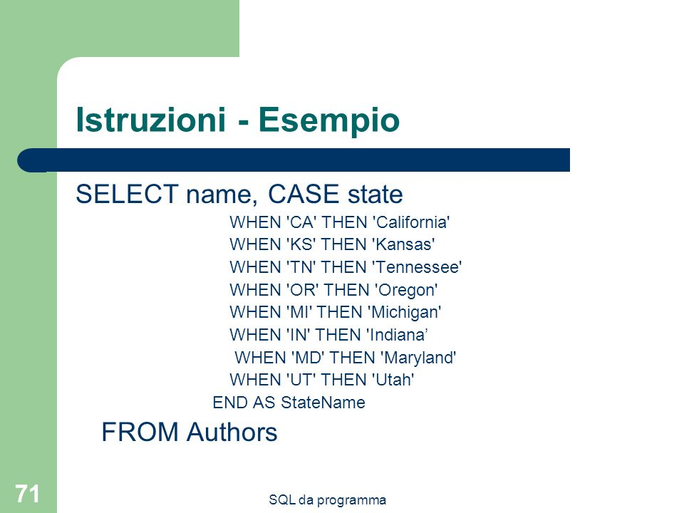 Istruzioni - Esempio SELECT name, CASE state FROM Authors