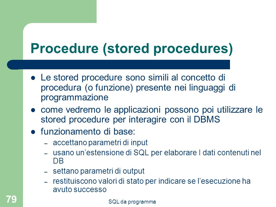 Procedure (stored procedures)