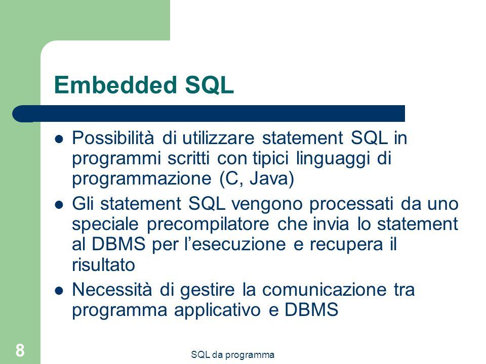 Embedded SQL Possibilità di utilizzare statement SQL in programmi scritti con tipici linguaggi di programmazione (C, Java)