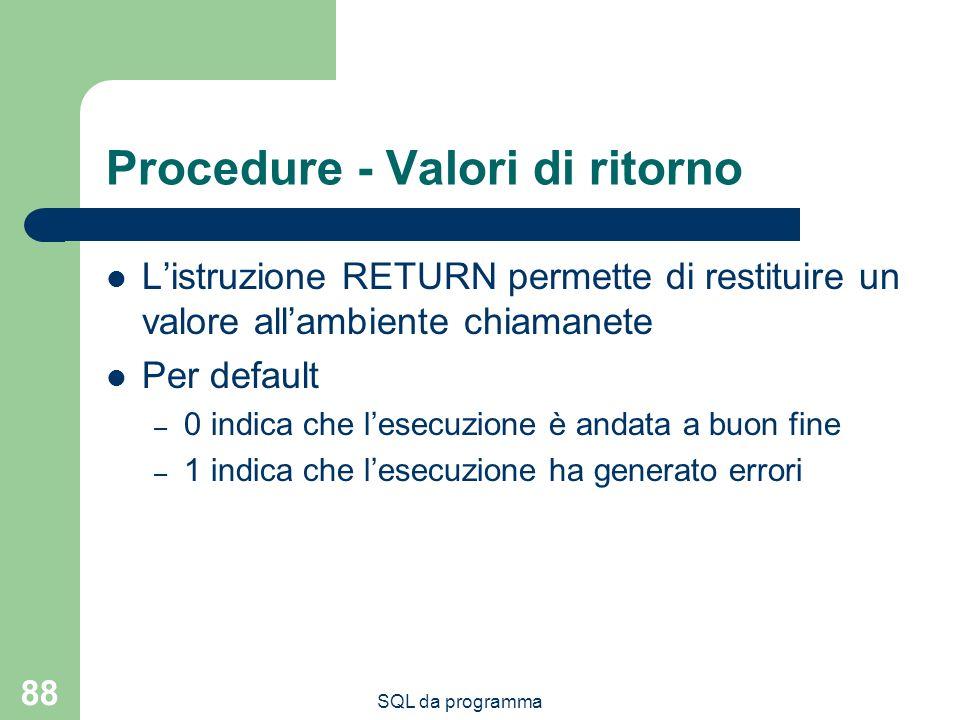 Procedure - Valori di ritorno