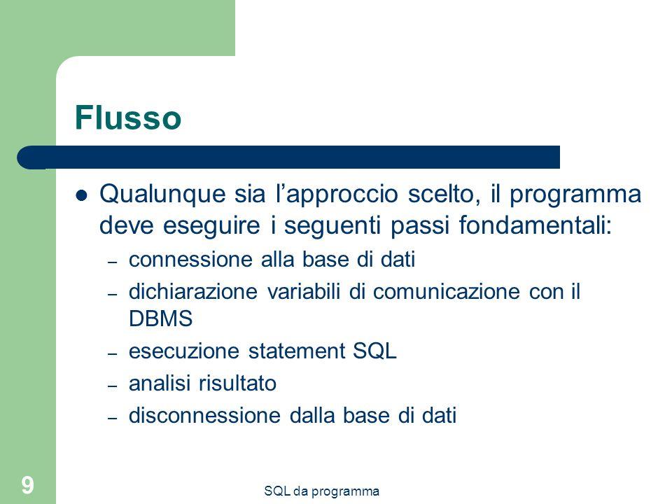 Flusso Qualunque sia l'approccio scelto, il programma deve eseguire i seguenti passi fondamentali: connessione alla base di dati.