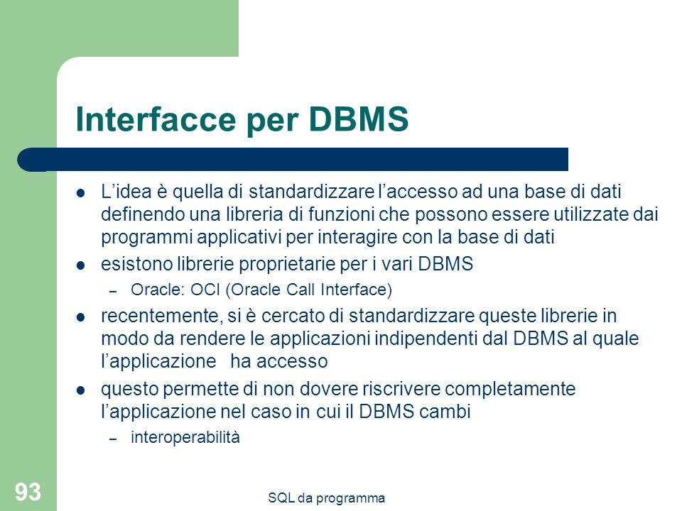 Interfacce per DBMS