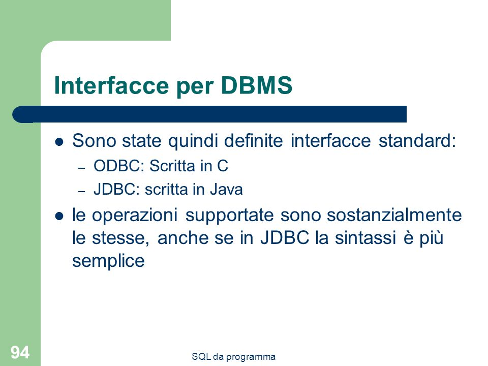 Interfacce per DBMS Sono state quindi definite interfacce standard: