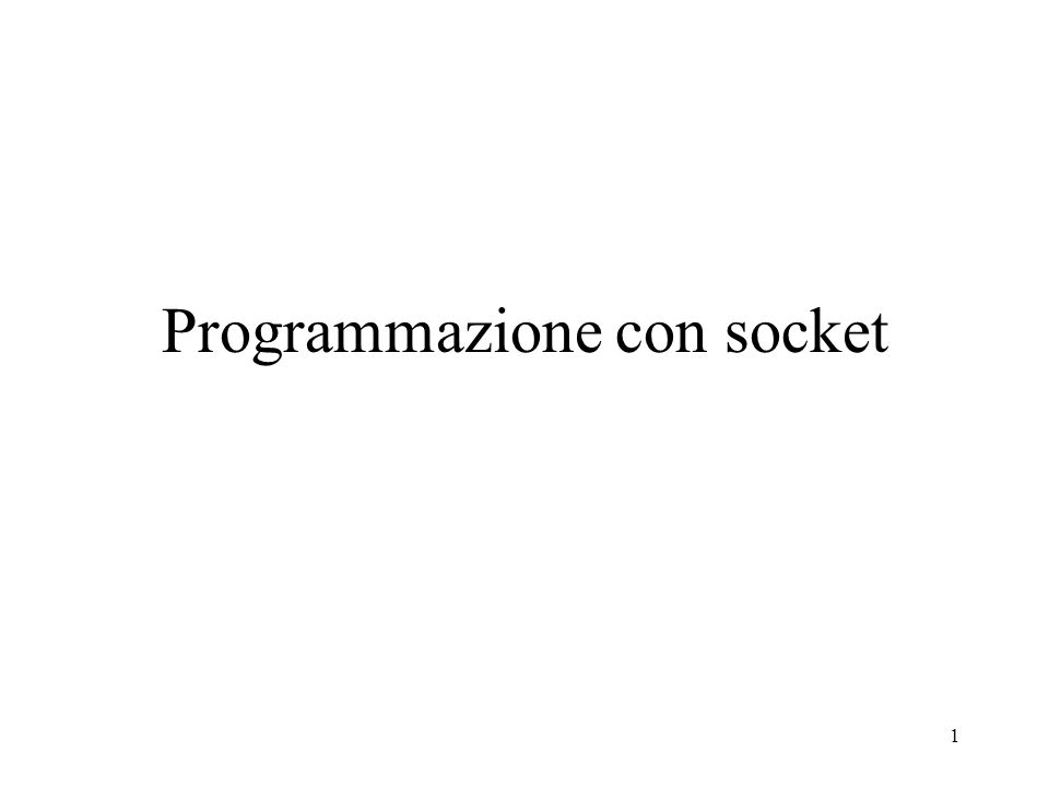 Programmazione con socket