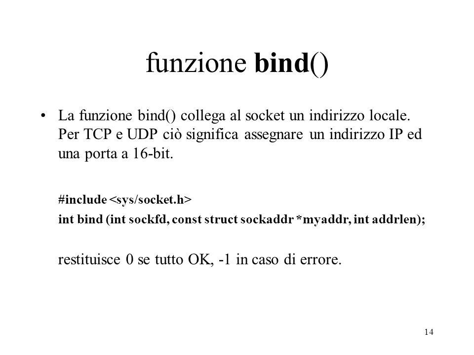 funzione bind()