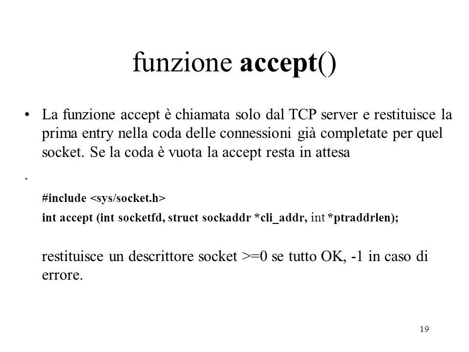 funzione accept()