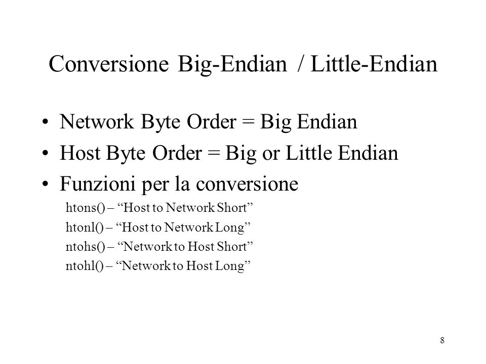 Conversione Big-Endian / Little-Endian