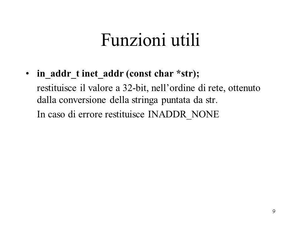Funzioni utili in_addr_t inet_addr (const char *str);