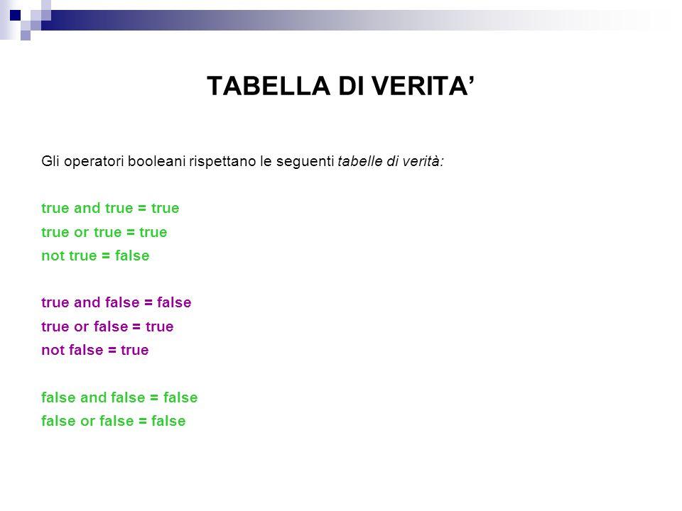 TABELLA DI VERITA' Gli operatori booleani rispettano le seguenti tabelle di verità: true and true = true.
