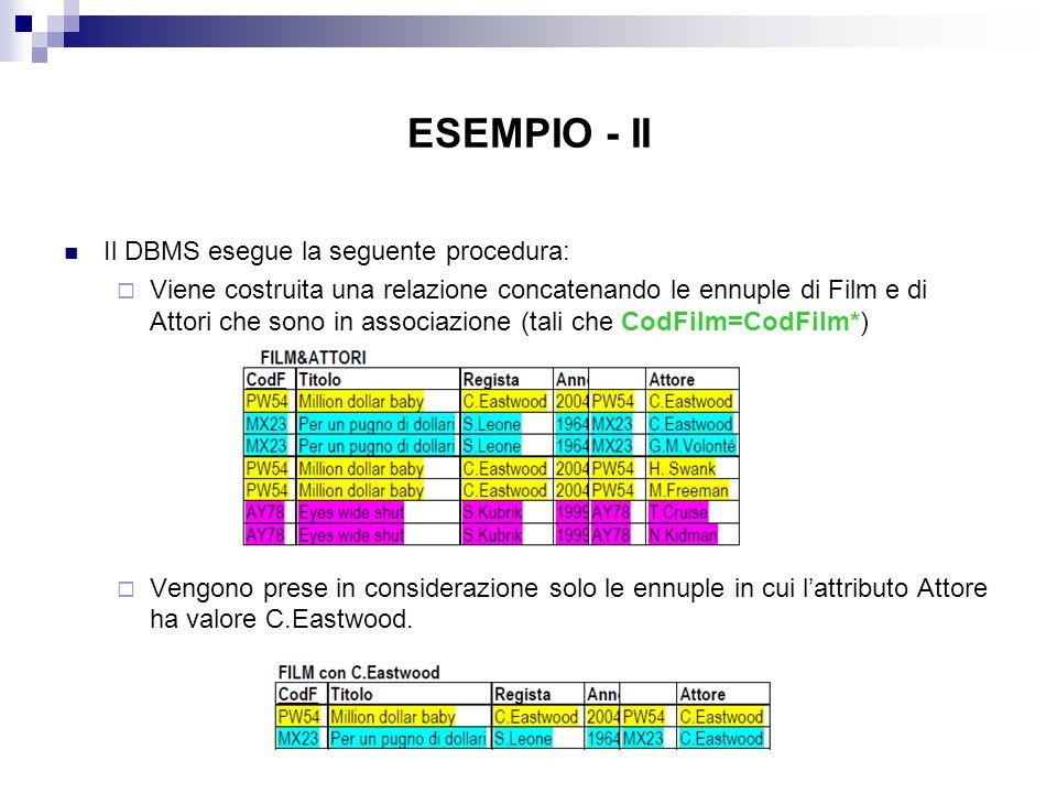 ESEMPIO - II Il DBMS esegue la seguente procedura: