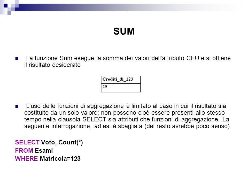 SUM La funzione Sum esegue la somma dei valori dell'attributo CFU e si ottiene il risultato desiderato.