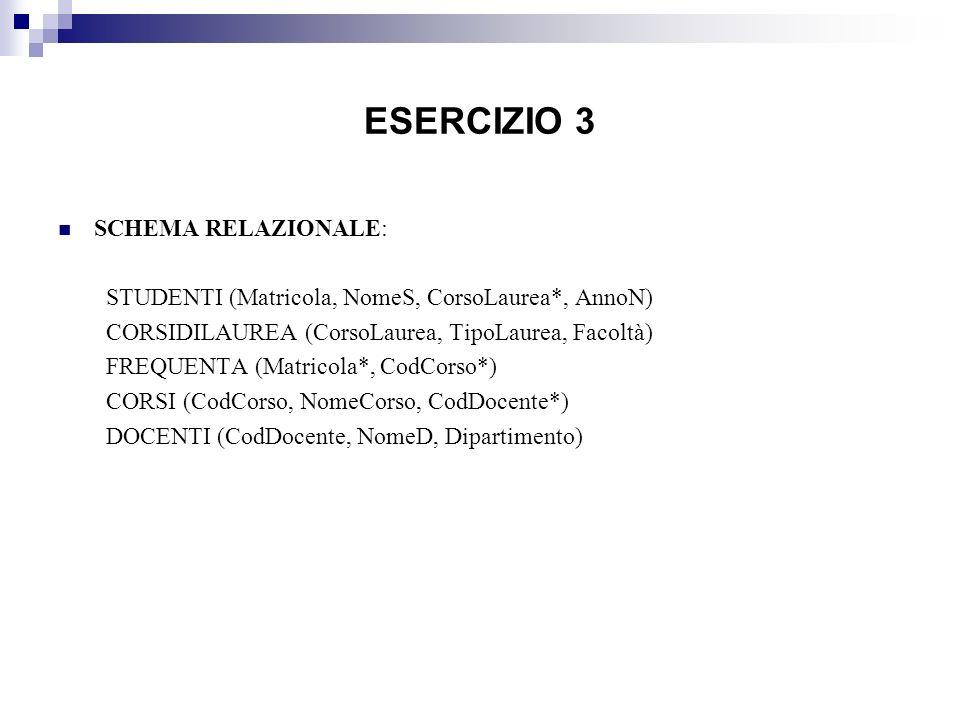 ESERCIZIO 3 SCHEMA RELAZIONALE: