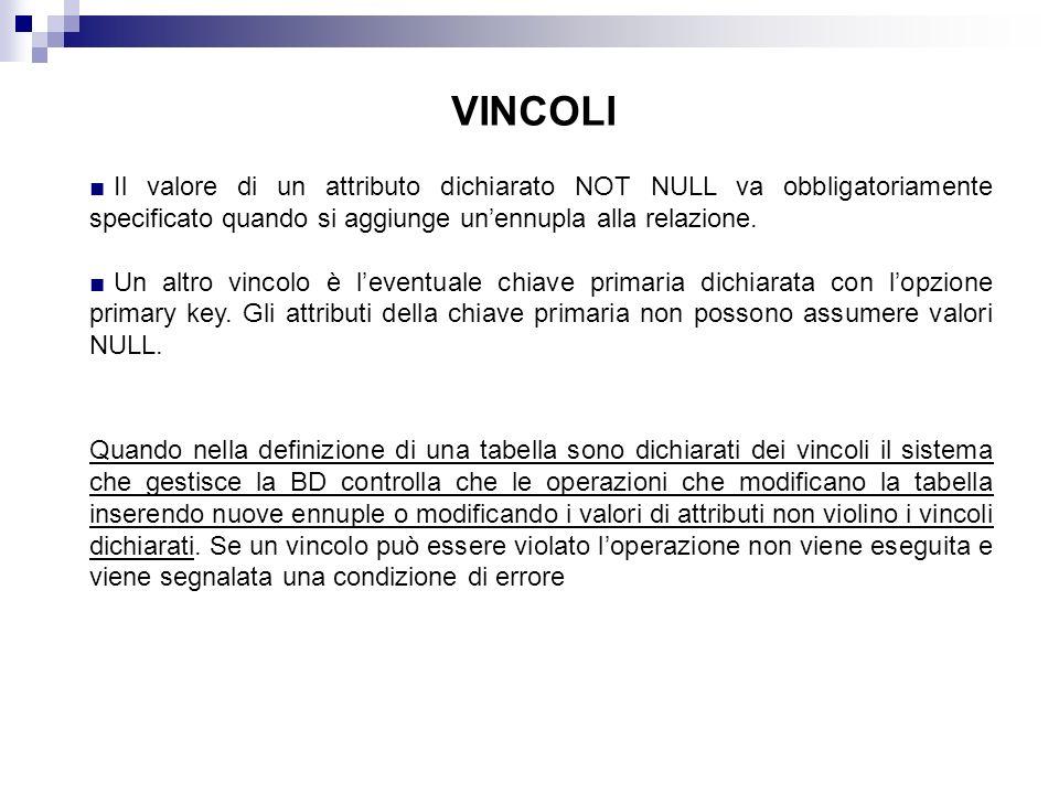 VINCOLI Il valore di un attributo dichiarato NOT NULL va obbligatoriamente specificato quando si aggiunge un'ennupla alla relazione.