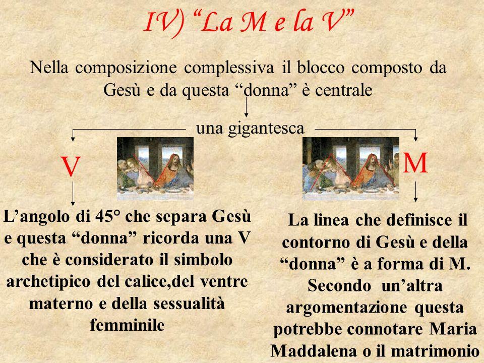 IV) La M e la V Nella composizione complessiva il blocco composto da Gesù e da questa donna è centrale.