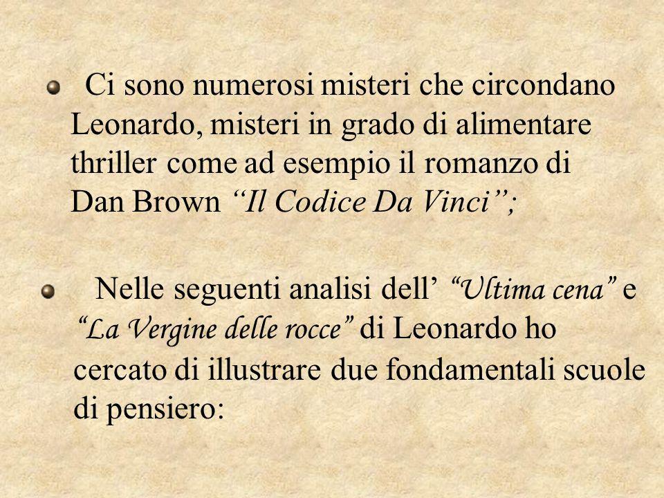 Ci sono numerosi misteri che circondano Leonardo, misteri in grado di alimentare thriller come ad esempio il romanzo di Dan Brown Il Codice Da Vinci ;