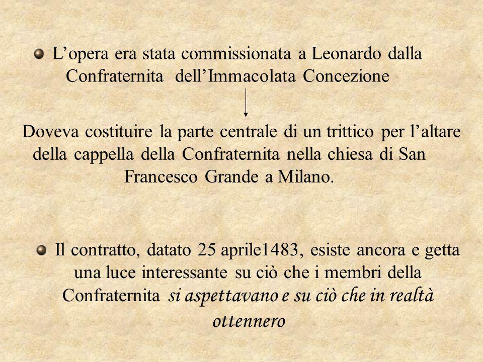 L'opera era stata commissionata a Leonardo dalla Confraternita dell'Immacolata Concezione