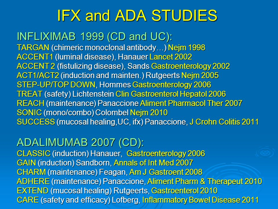 IFX and ADA STUDIES INFLIXIMAB 1999 (CD and UC): ADALIMUMAB 2007 (CD):