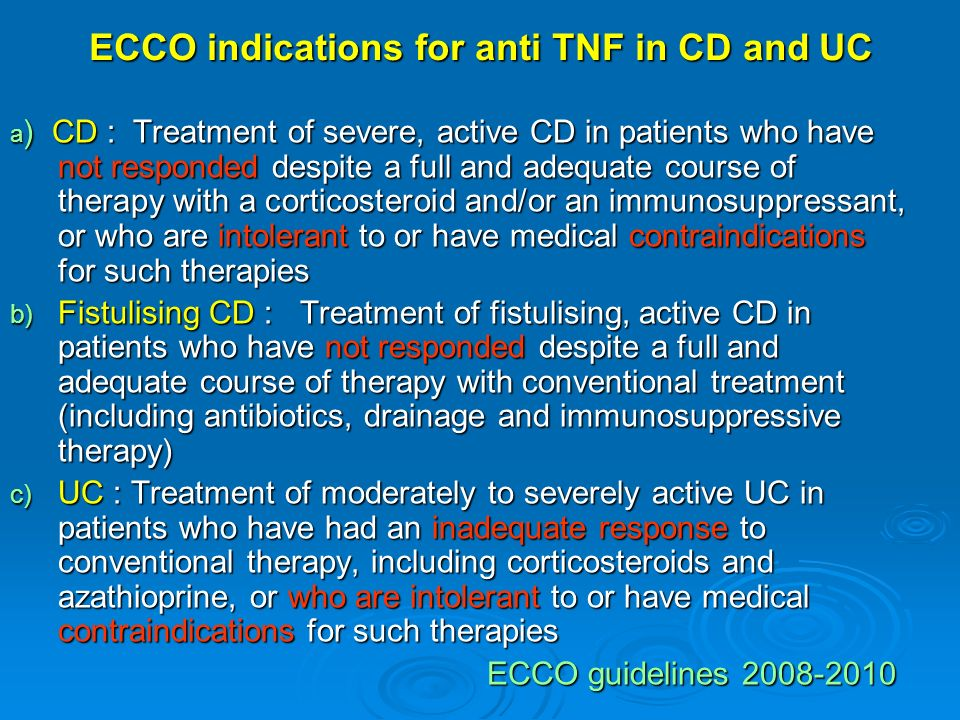 ECCO indications for anti TNF in CD and UC