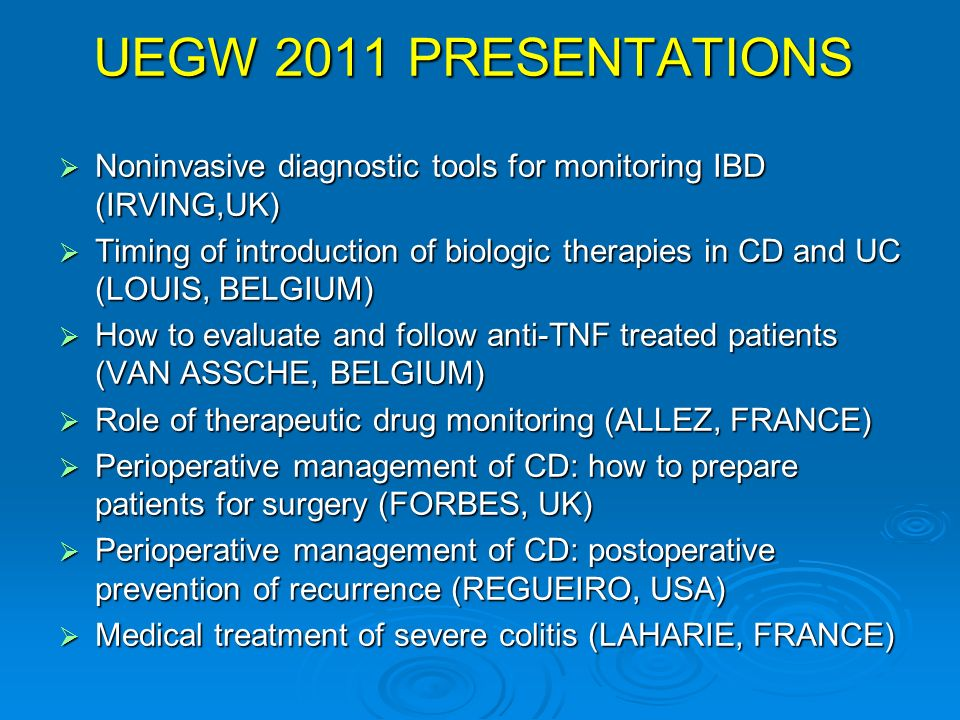 UEGW 2011 PRESENTATIONS Noninvasive diagnostic tools for monitoring IBD (IRVING,UK)