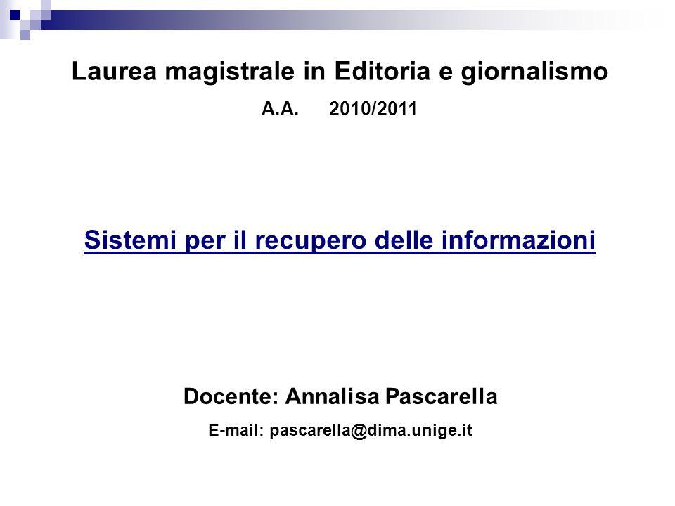 Laurea magistrale in Editoria e giornalismo