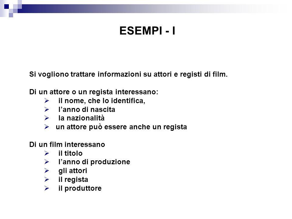 ESEMPI - I Si vogliono trattare informazioni su attori e registi di film. Di un attore o un regista interessano: