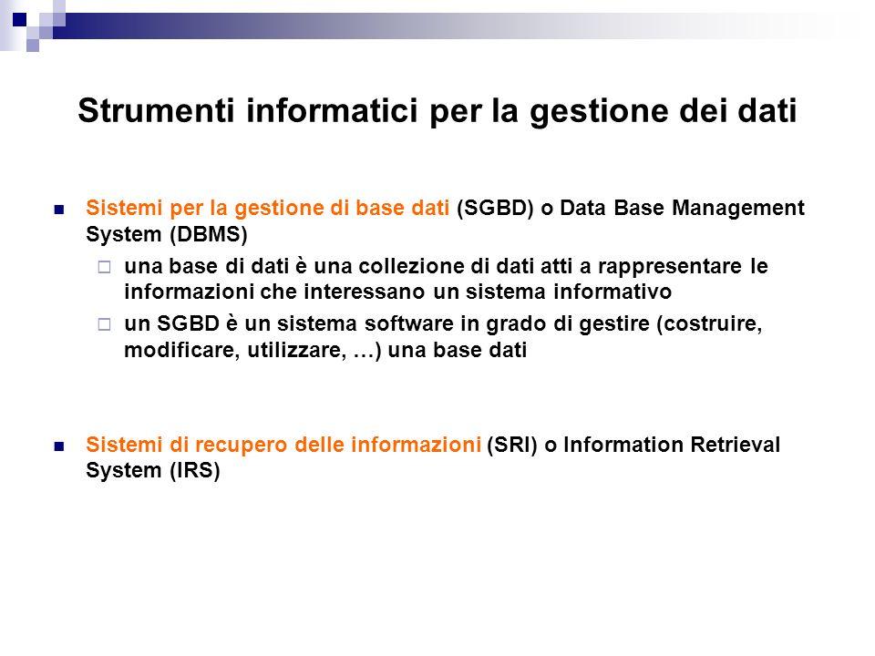 Strumenti informatici per la gestione dei dati
