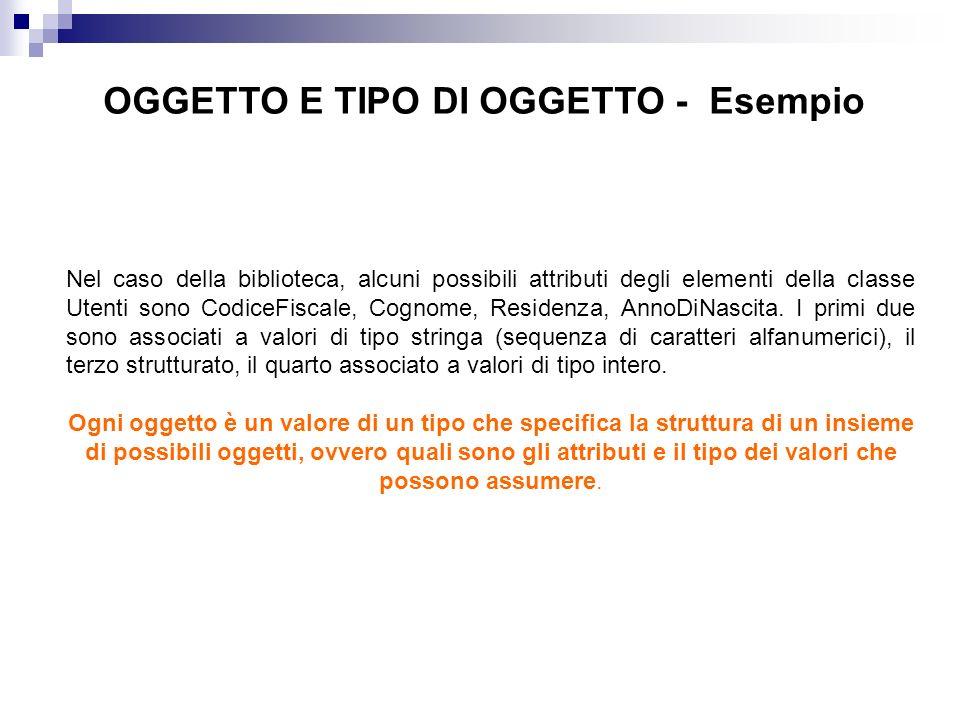OGGETTO E TIPO DI OGGETTO - Esempio