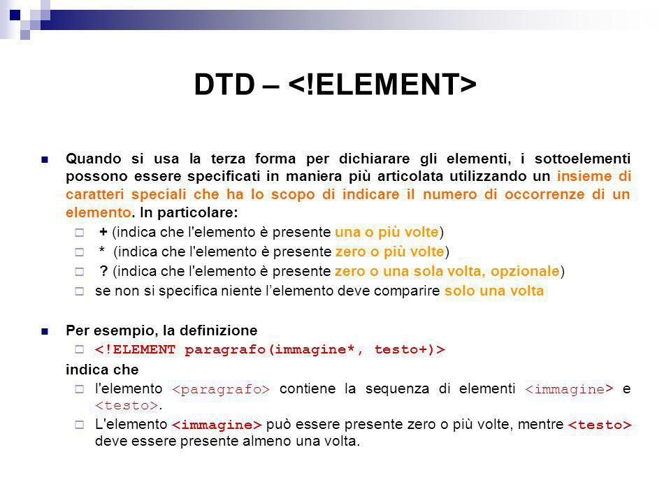 DTD – <!ELEMENT>