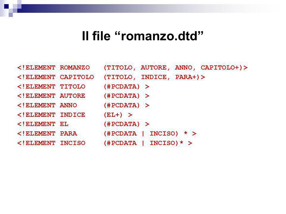 Il file romanzo.dtd <!ELEMENT ROMANZO (TITOLO, AUTORE, ANNO, CAPITOLO+)> <!ELEMENT CAPITOLO (TITOLO, INDICE, PARA+)>