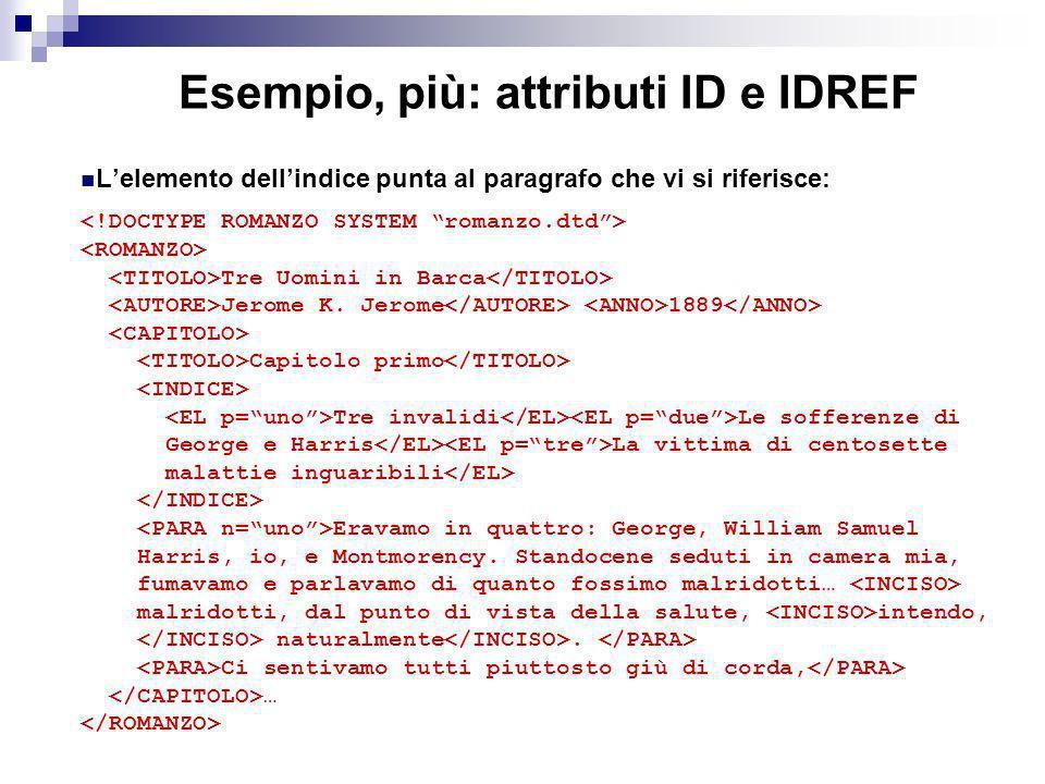 Esempio, più: attributi ID e IDREF