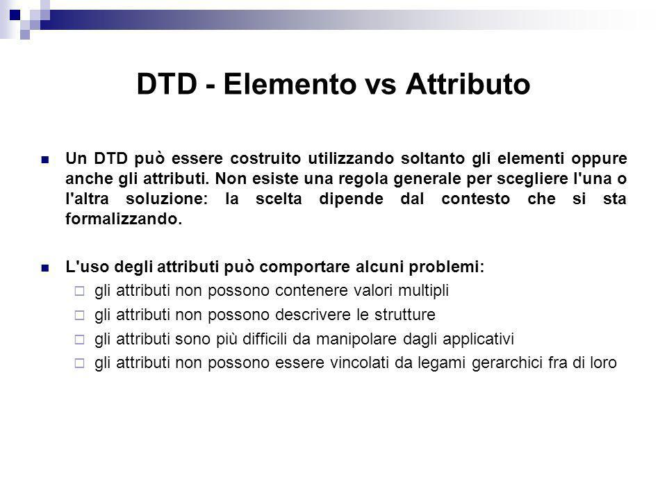 DTD - Elemento vs Attributo