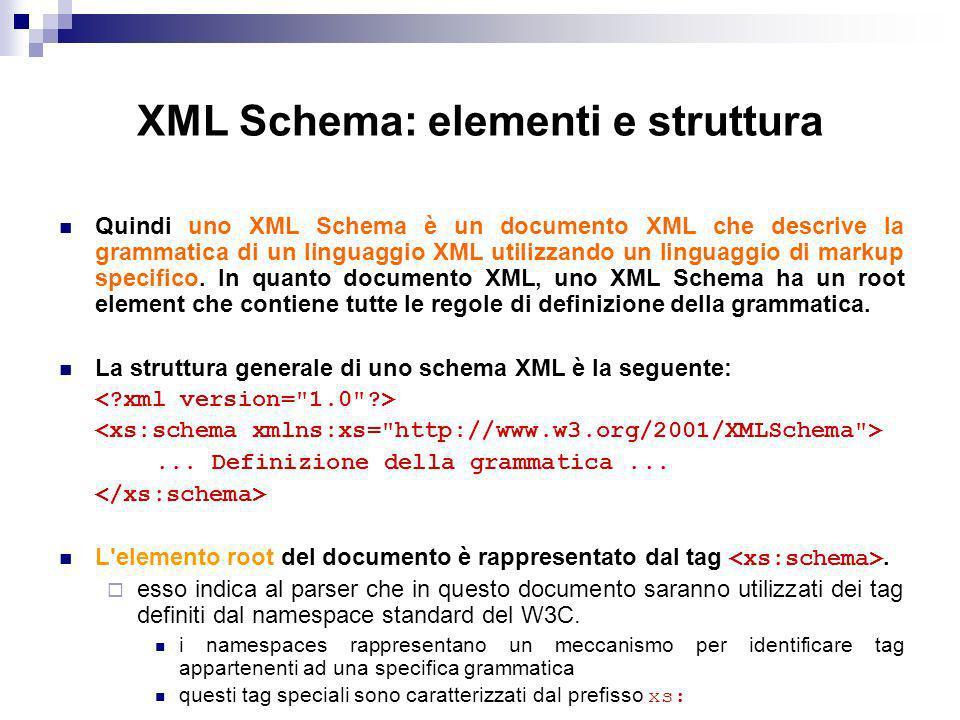 XML Schema: elementi e struttura