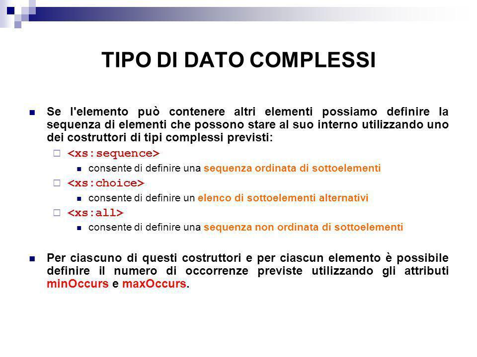 TIPO DI DATO COMPLESSI