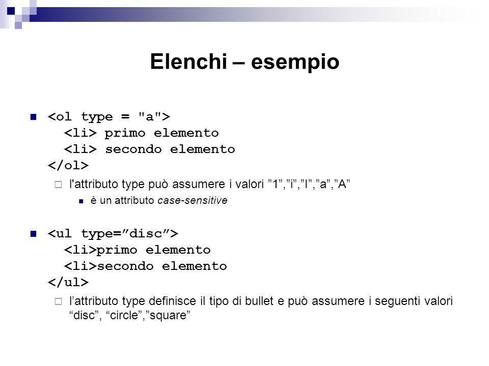 Elenchi – esempio <ol type = a > <li> primo elemento <li> secondo elemento </ol> l attributo type può assumere i valori 1 , i , I , a , A