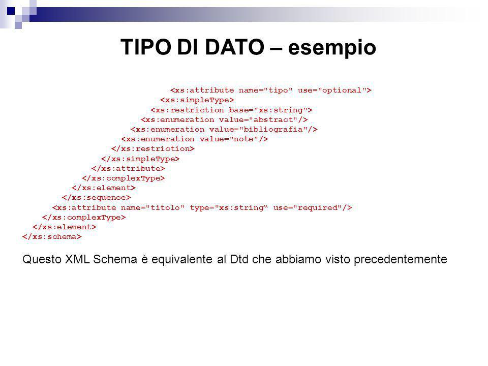 TIPO DI DATO – esempio <xs:attribute name= tipo use= optional > <xs:simpleType> <xs:restriction base= xs:string >