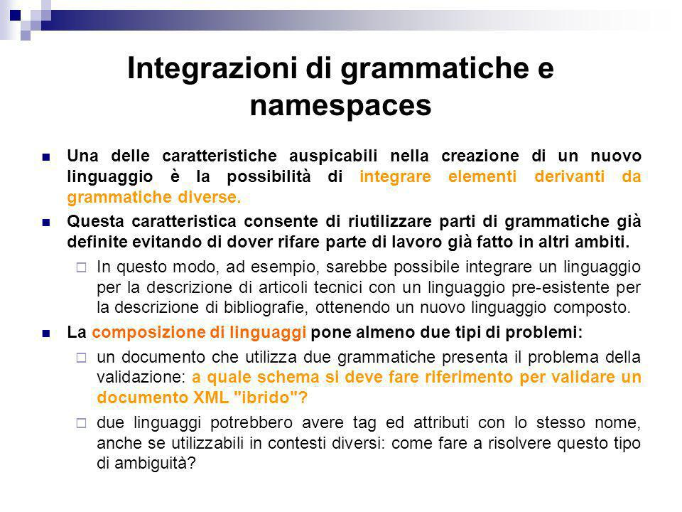 Integrazioni di grammatiche e namespaces