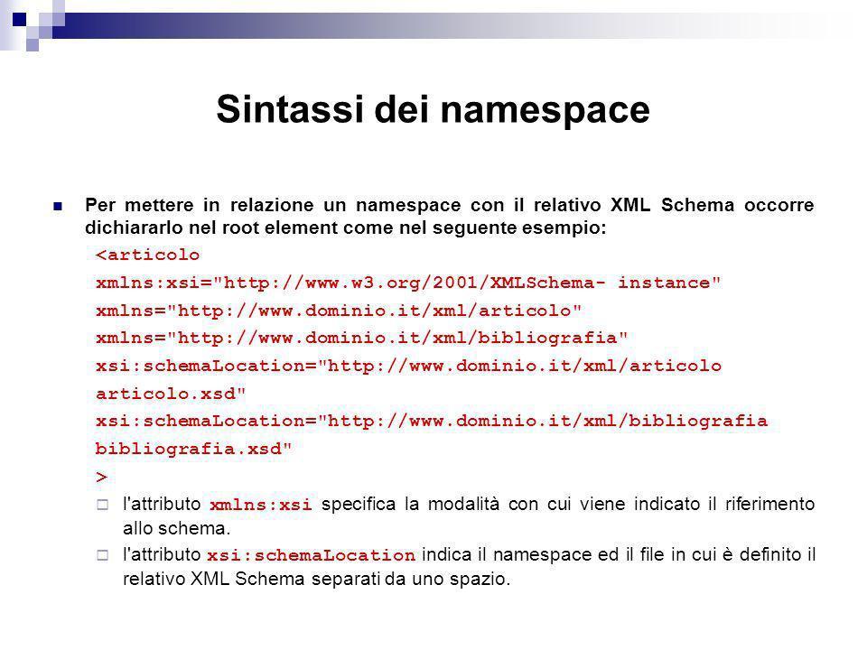 Sintassi dei namespace