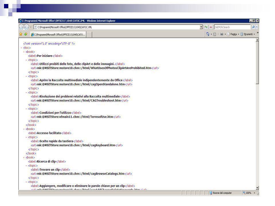 XML codifica la STRUTTURA del documento e delega ad altri linguaggi il compito di definire quale sarà invece il layout, cioè l'aspetto, la formattazione del documento, come cioè il testo codificato apparirà sullo schermo in fase di visualizzazione.