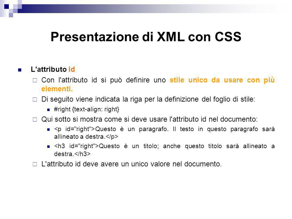 Presentazione di XML con CSS