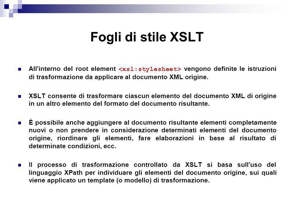 Fogli di stile XSLT